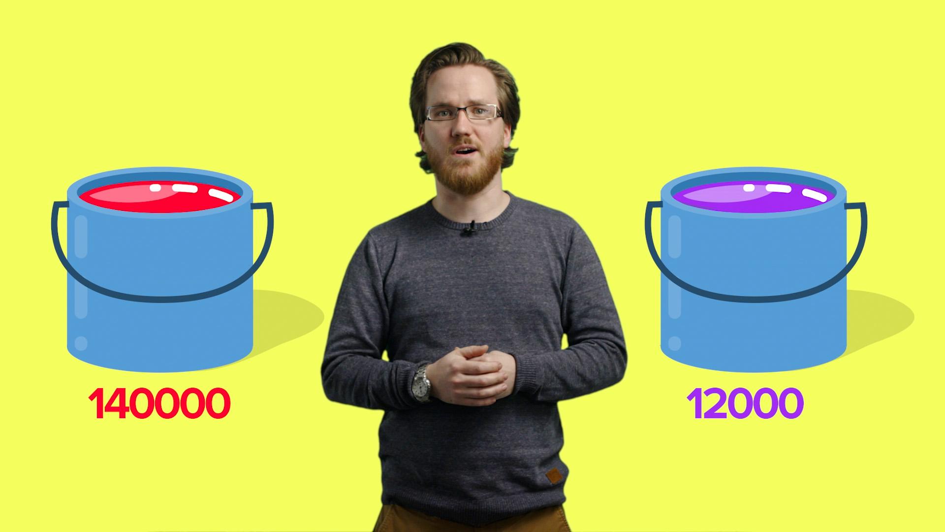Programleder med gul bakgrunn